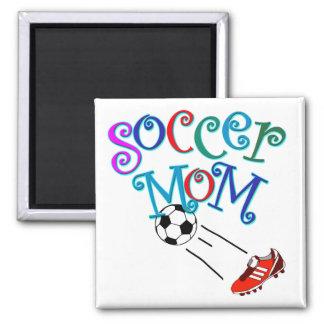 Maman du football magnet carré