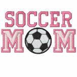 Maman du football - rose sweatshirts à capuche avec broderie