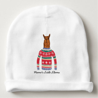 Mama's Little Llama Funny Ugly Christmas Sweater Baby Beanie