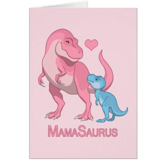 MamaSaurus T-Rex and Baby Boy Dinosaurs Card