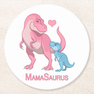 MamaSaurus T-Rex and Baby Boy Dinosaurs Round Paper Coaster
