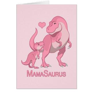 MamaSaurus T-Rex and Baby Girl Dinosaurs Card