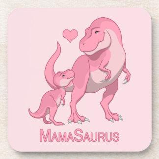 MamaSaurus T-Rex and Baby Girl Dinosaurs Coaster