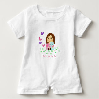 """Mameluco of """"Cathy and the Cat"""" with butterflies Baby Romper"""