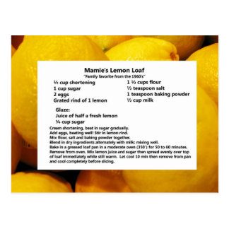 Mamie's Lemon Loaf Postcard