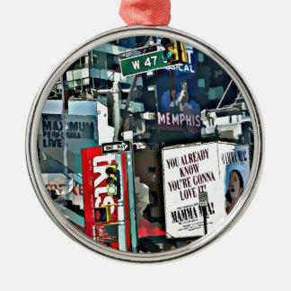 Mamma Mia NYC Design Silver-Colored Round Ornament