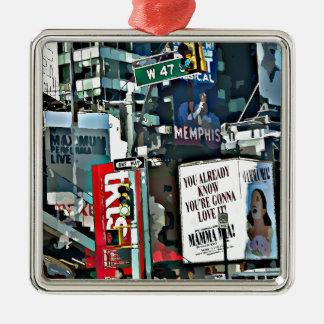 Mamma Mia NYC Design Silver-Colored Square Ornament
