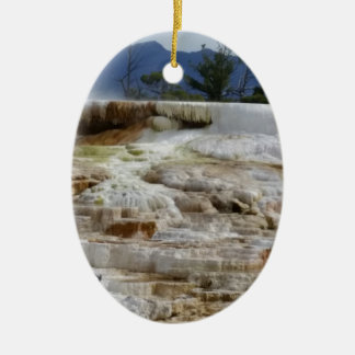 Mammoth Hot Springs Ceramic Oval Ornament