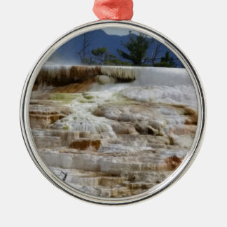 Mammoth Hot Springs Silver-Colored Round Ornament