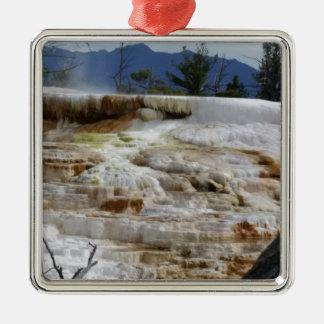 Mammoth Hot Springs Silver-Colored Square Ornament