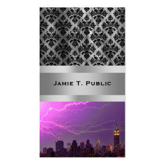 Mammoth Lightning Strike On Midtown NYC Skyline #2 Double-Sided Standard Business Cards (Pack Of 100)