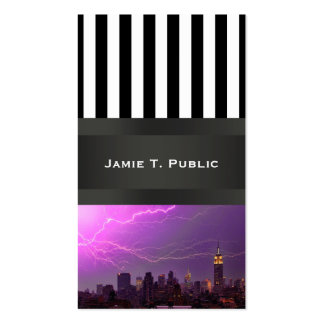 Mammoth Lightning Strike Over Midtown NYC Skyline Double-Sided Standard Business Cards (Pack Of 100)