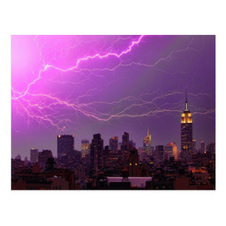 Mammoth Lightning Strike Over Midtown NYC Skyline Postcard
