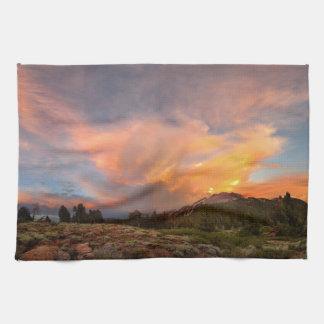 Mammoth Mountain Sunset from Minaret Summit Kitchen Towel