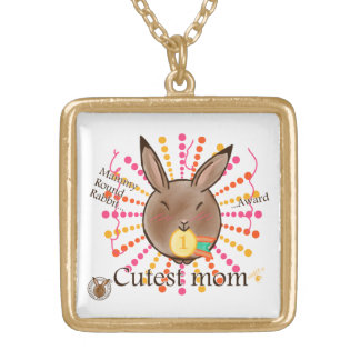 Mammy Round Rabbit-Cutest mom award-necklace Gold Plated Necklace