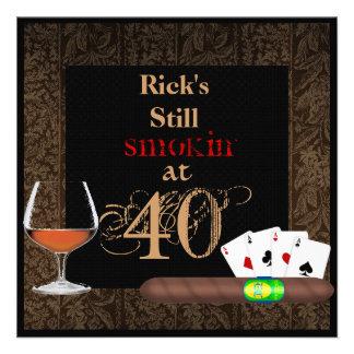 MAN 40th Birthday Cigars Poker BRANDY INVITATIONS Personalized Invitation