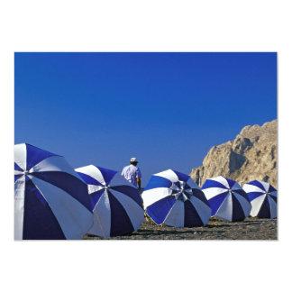 "Man Among Beach Umbrellas, Santorini (Greece) 5"" X 7"" Invitation Card"