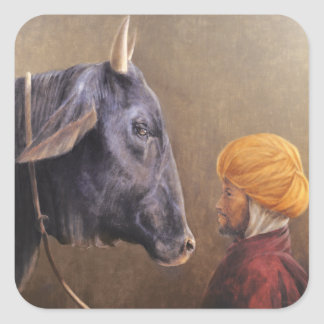 Man and Bull Square Sticker