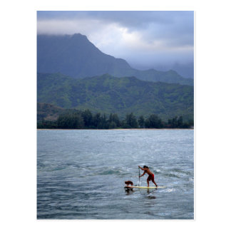 Man and Dog on Paddleboard in Hanalei Bay Postcard