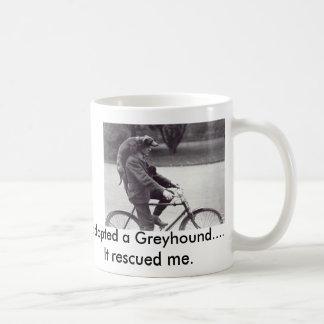 Man and greyhound on bicycle in England, Coffee Mug