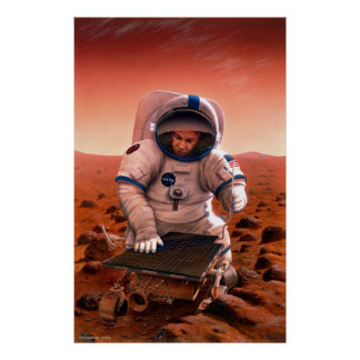 Man and Sojourner Meet on Mars Poster
