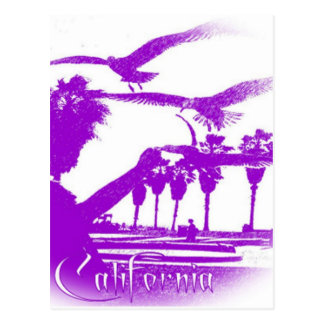 Man and the Birds-Purple-Round Postcard