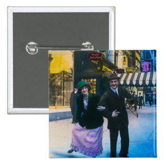 Man and woman dance on street 1900 NYC 2 Inch Square Button