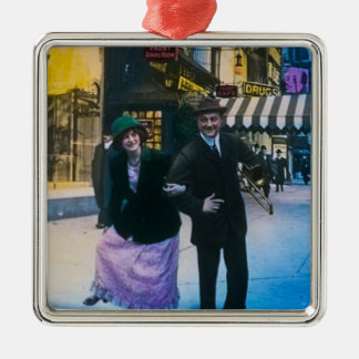 Man and woman dance on street 1900 NYC Silver-Colored Square Ornament