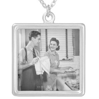 Man and Woman Doing Dishes Silver Plated Necklace