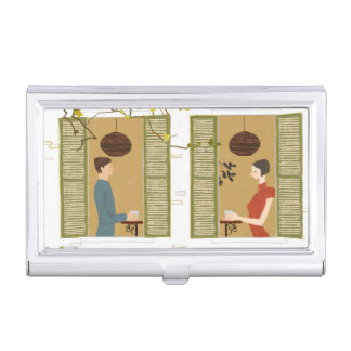 Man and Woman Drinking Coffee Case For Business Cards