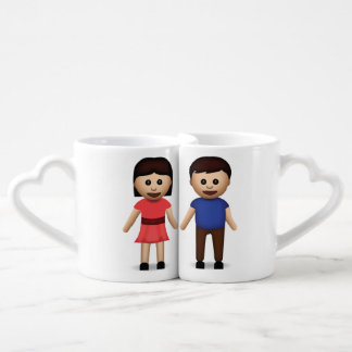 Man And Woman Holding Hands Emoji Coffee Mug Set
