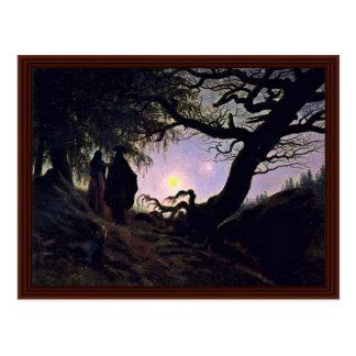 Man And Woman Looking At The Moon Postcard