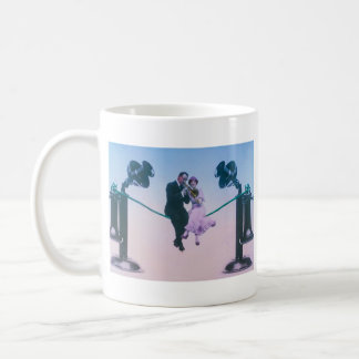 Man and woman sit on telephone wire 1900 coffee mug