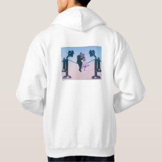 Man and woman sit on telephone wire 1900 hoodie