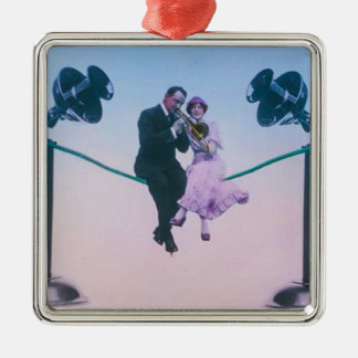 Man and woman sit on telephone wire 1900 Silver-Colored square ornament