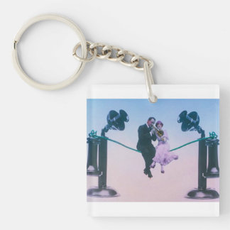 Man and woman sit on telephone wire 1900 Single-Sided square acrylic keychain