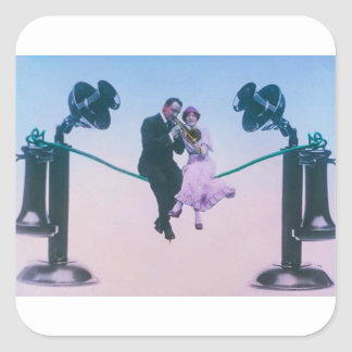Man and woman sit on telephone wire 1900 square sticker
