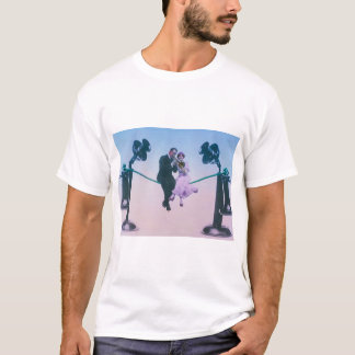 Man and woman sit on telephone wire 1900 T-Shirt