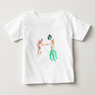 Man Astronaut Shaking Hands With Green Male Alien Baby T-Shirt