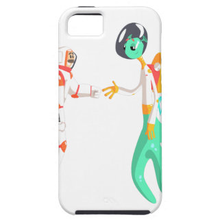 Man Astronaut Shaking Hands With Green Male Alien iPhone 5 Case