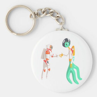 Man Astronaut Shaking Hands With Green Male Alien Keychain