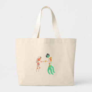 Man Astronaut Shaking Hands With Green Male Alien Large Tote Bag