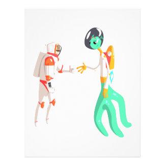 Man Astronaut Shaking Hands With Green Male Alien Letterhead