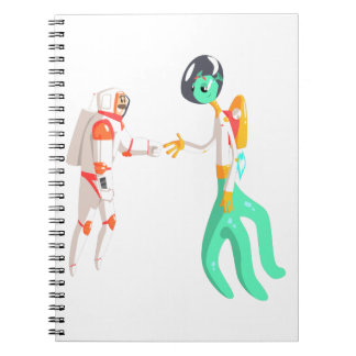 Man Astronaut Shaking Hands With Green Male Alien Spiral Notebook