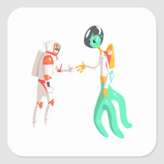Man Astronaut Shaking Hands With Green Male Alien Square Sticker