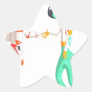 Man Astronaut Shaking Hands With Green Male Alien Star Sticker