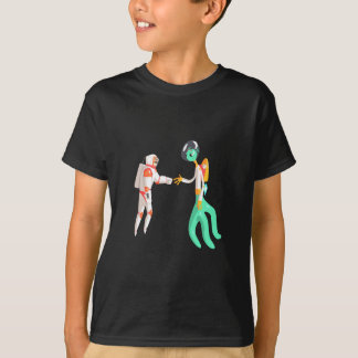 Man Astronaut Shaking Hands With Green Male Alien T-Shirt