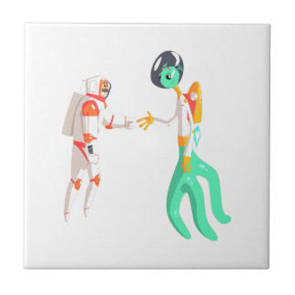 Man Astronaut Shaking Hands With Green Male Alien Tile