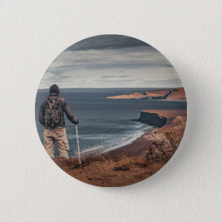 Man at Highs Contemplating The Landscape 2 Inch Round Button