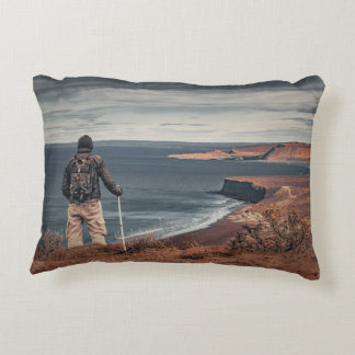 Man at Highs Contemplating The Landscape Decorative Pillow